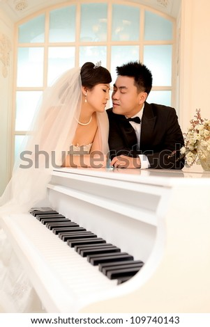 Photo of Wedding day of young asian couple