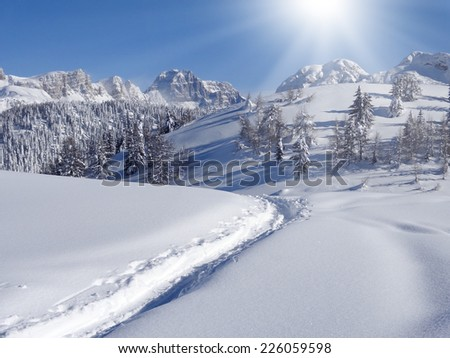 Photo of winter landscape with trees and mountains covered by snow - stock photo