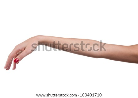 Photo of woman hand with red nails on white background