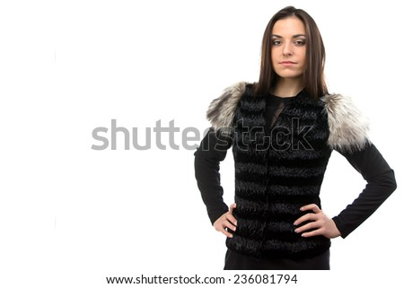 Photo of woman in black fur waistcoat on white background