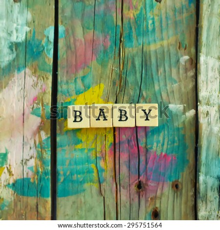 Photo of wooden blocks with  word Baby - stock photo