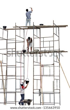 Photo of Workers on a scaffold - stock photo