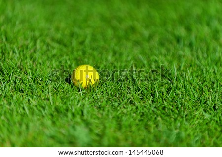 Photo of yellow golf ball on green grass - stock photo