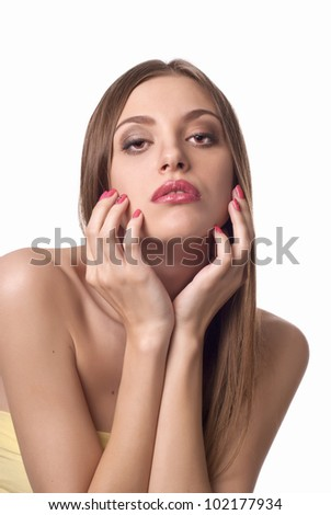 Photo of young beautiful lady with dark hair over white - stock photo