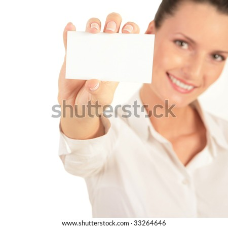 Photo of young beautiful woman presenting her business card - stock photo