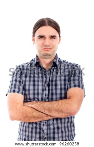 Photo of young unhappy sad man, isolated on white background.