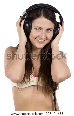 Photo of young woman with headphones on white background