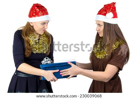 Photo of young women with the gift on white background