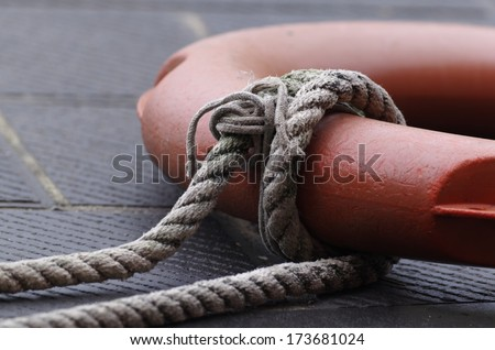 photo oh a lifebuoy durig one of my voyage - stock photo