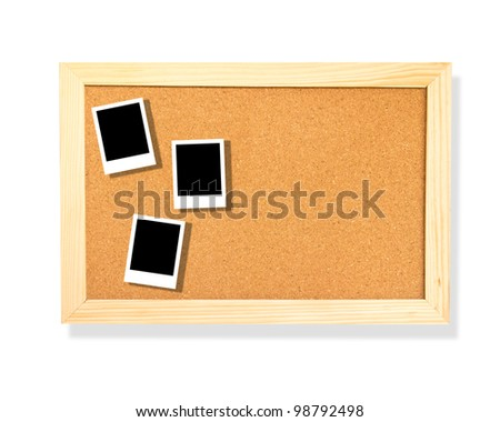 photo on cork board background - stock photo