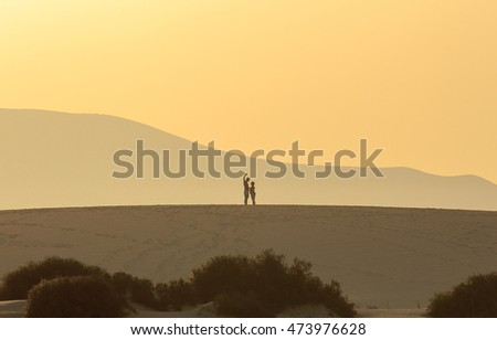 Photo on the sand dunes - Silhouette of a couple taking a picture on a sand dune