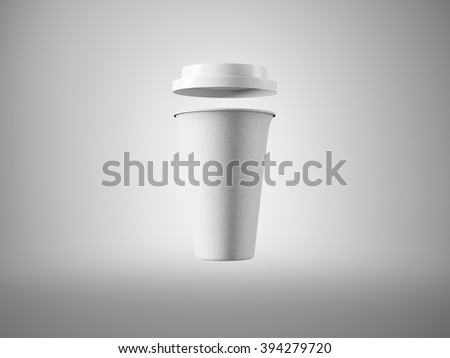 Photo open white carton take away coffee cup. Isolated on the light background. Ready for business info. Horizontal mockup. 3d rendering - stock photo