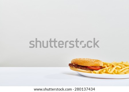photo over light grey background with empty copyspace and burger with fry potatoes on white plate - stock photo
