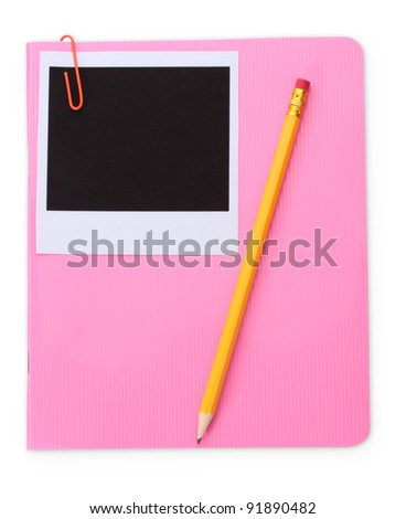 Photo paper and pink notebook isolated on white - stock photo