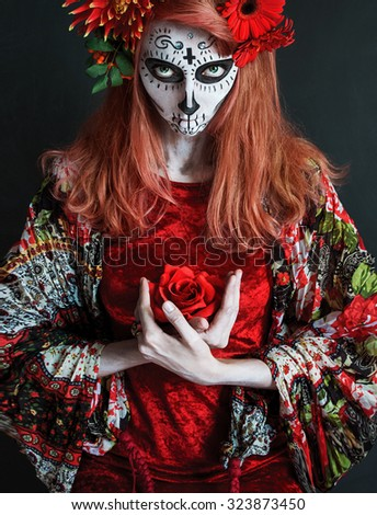 photo portrait of a girl in the image of the dead goddess Los Muertos - stock photo