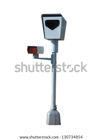 Photo radar with flash device ; isolated, clipping path included - stock photo