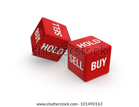 "Photo-real illustration of Two red dice engraved with ""Buy"", ""Sell"", and ""Hold"" embossed on sides.  Isolated on white background."