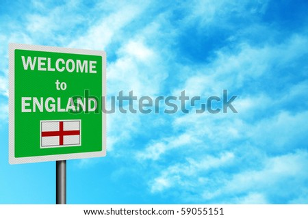 "Photo realistic bright, clean ""Welcome to England' sign, with space for your text / editorial overlay - stock photo"