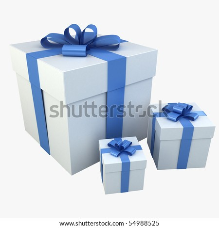Photo realistic Gift Box 3D Rendering Blue