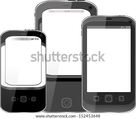 Photo-realistic illustration of different smart phones with blank screen - isolated, raster - stock photo