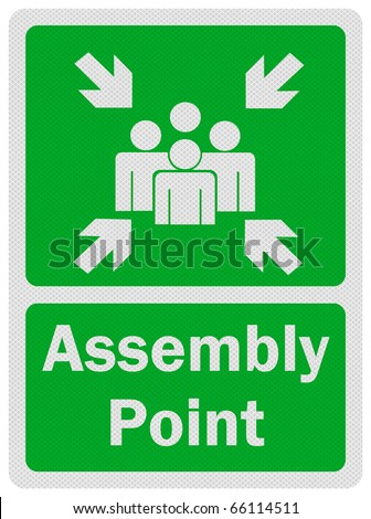Photo realistic metallic, reflective 'assembly point' sign, isolated on pure white - stock photo