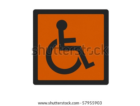 Photo realistic metallic reflective 'disabled' sign, isolated on white background (orange version) - stock photo