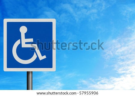 Photo realistic metallic reflective 'disabled' sign, with space for your text / editorial overlay (blue version)