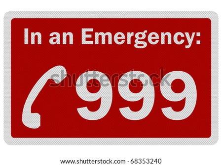 Photo realistic metallic, reflective 'Emergency 999' sign, isolated on white - stock photo