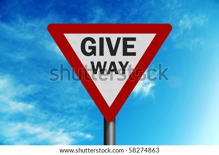Photo realistic metallic, reflective ' give way' sign, against a bright blue sky