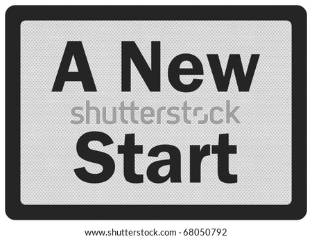 Photo realistic metallic, reflective 'new start' sign, isolated on white - stock photo