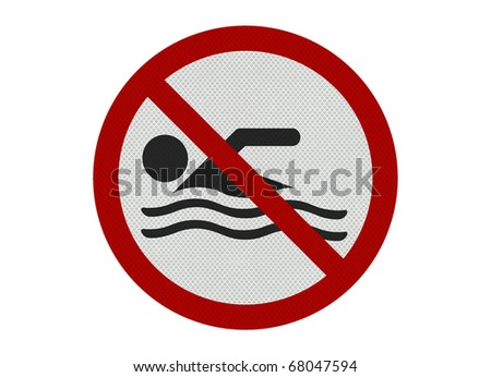 Photo realistic metallic, reflective 'no swimming' sign, isolated on white - stock photo