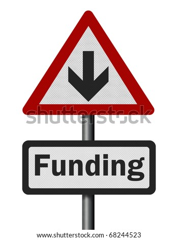 Photo realistic reflective metallic 'funding cuts' sign, isolated on a pure white background. - stock photo