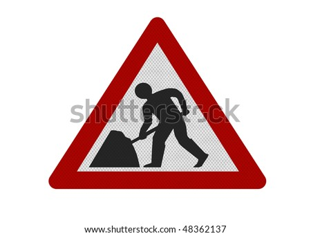 Photo realistic reflective metallic 'men working' sign, isolated on a pure white background.