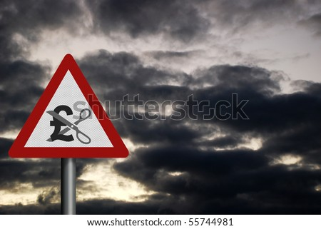 Photo realistic reflective metallic 'spending cuts' sign (British version), with space for your text - stock photo