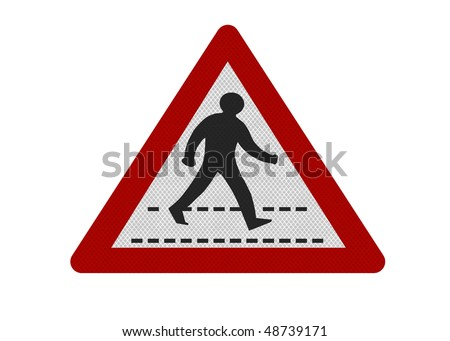 Photo realistic reflective metallic 'zebra crossing' sign, isolated on a pure white background.