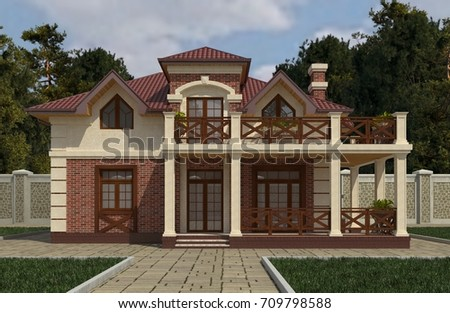 Photo realistic render of the building 3d illustration.