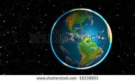 Photo realistic shining planet Earth in space - America