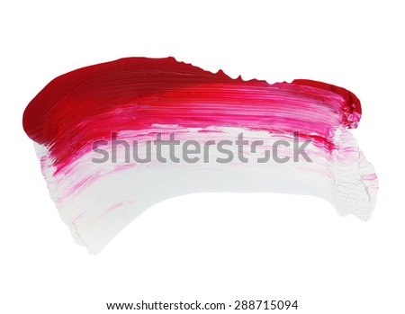 photo red and white grunge brush strokes oil paint isolated on white background - stock photo