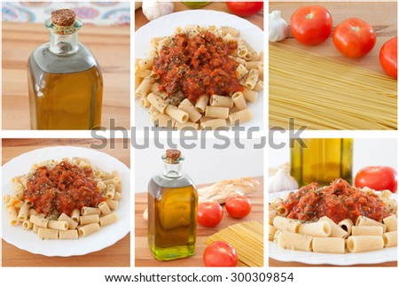 Photo sequence of preparing a delicious plate of pasta with tomato - stock photo