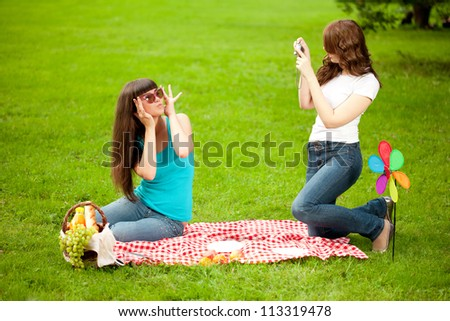 Photo session two women, friends, outdoors - stock photo