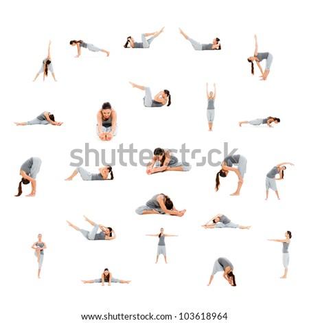 photo set of sporty woman isolated on white background - stock photo