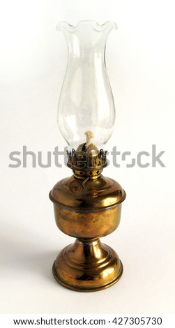 Photo shows Old vintage brass oil lamp
