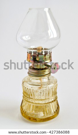 Photo shows old vintage glass oil lamp - stock photo