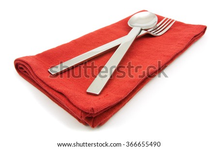 photo silverware fork napkin isolated on white - stock photo