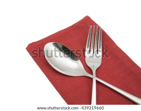 photo silverware fork napkin isolated on white - stock photo