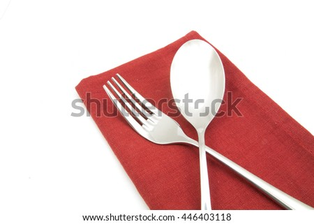 photo silverware fork napkin isolated on white