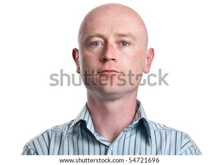 photo skinny casual male business man portrait in his 30's on white isolated. thin  skinny man wearing shirt, with shaved bald head, close up portrait eyes looking straight into camera.