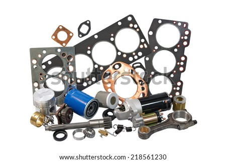 photo spare parts for engines on a white background - stock photo