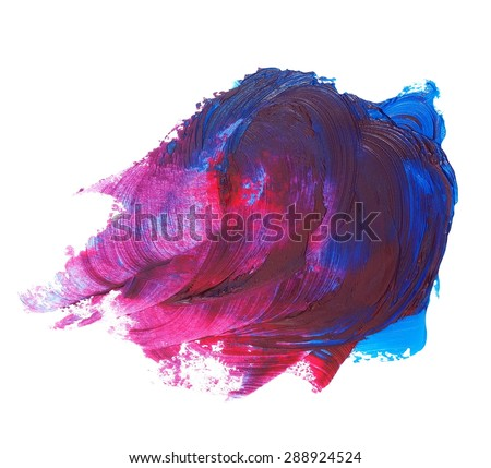 photo stain, red blue grunge brush strokes oil paint isolated on white background - stock photo