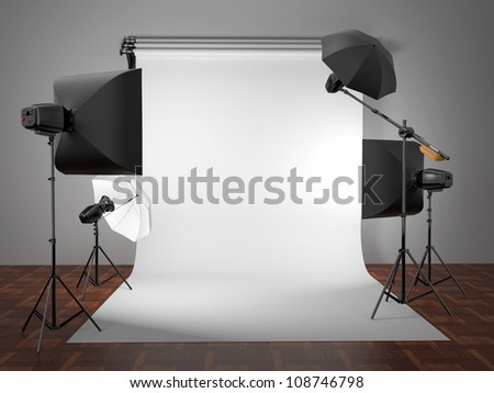 Photo studio equipment. Space for text. 3d - stock photo